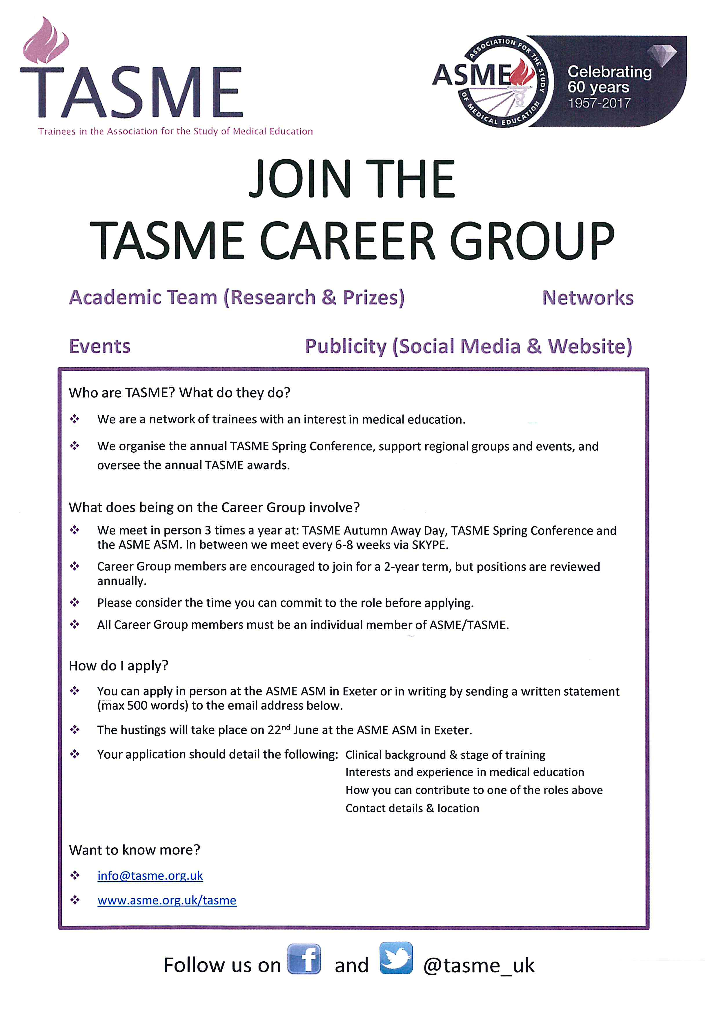 Call to join the TASME Career Group Committee