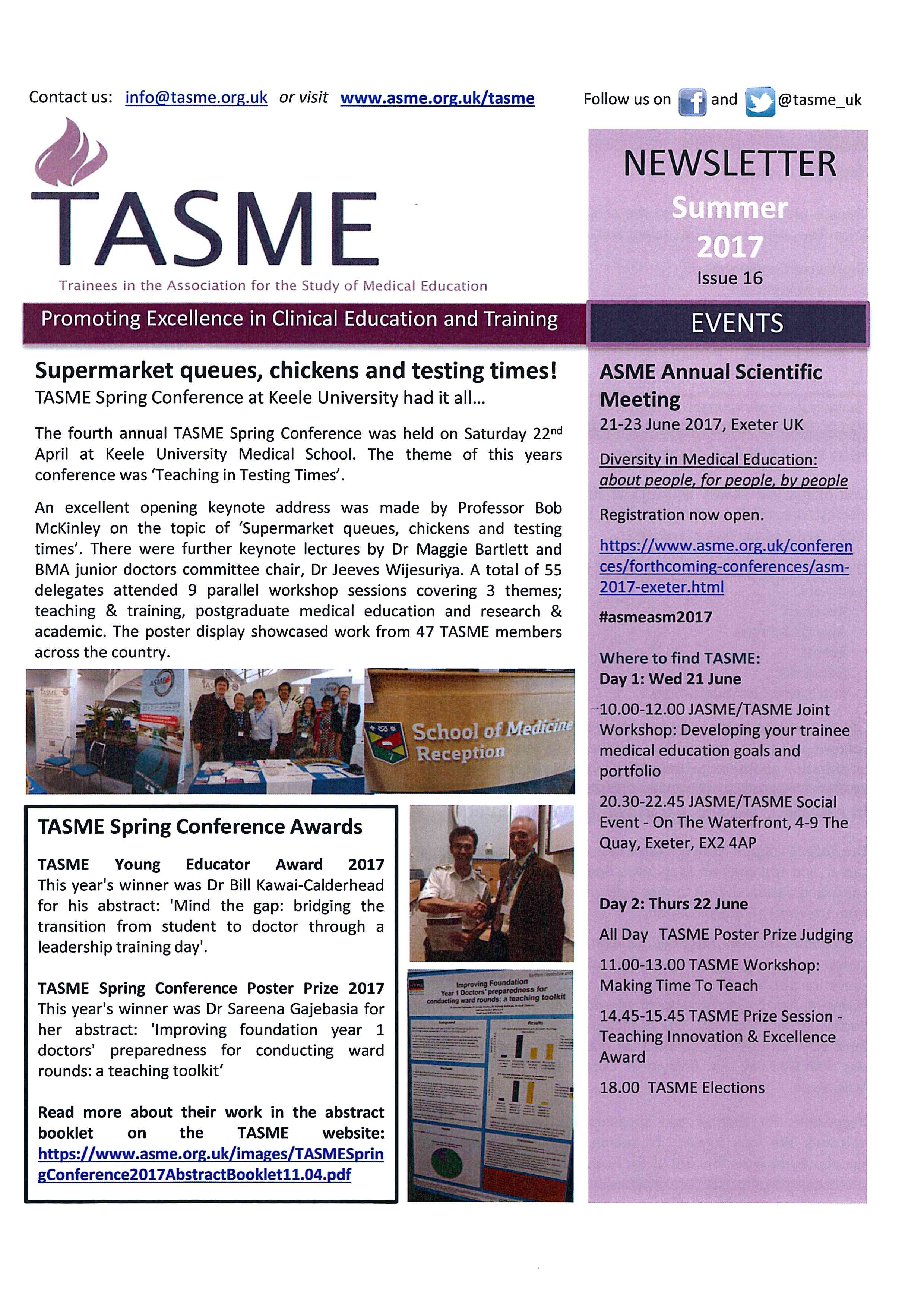 The latest TASME newsletter is here